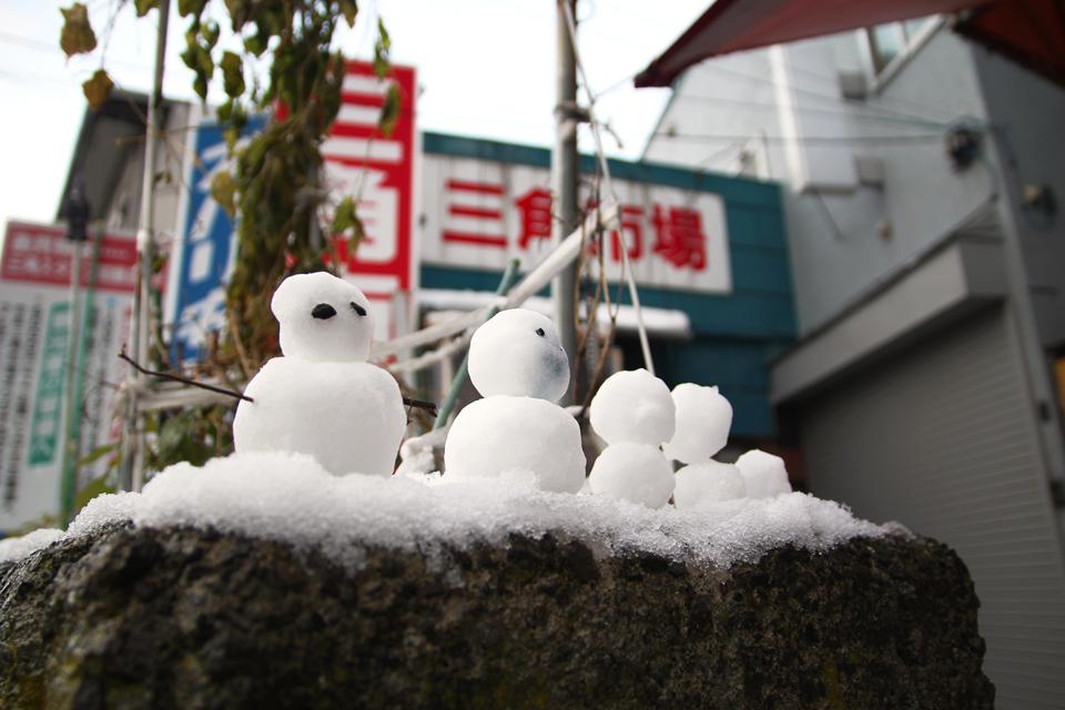 三角市場雪だるま