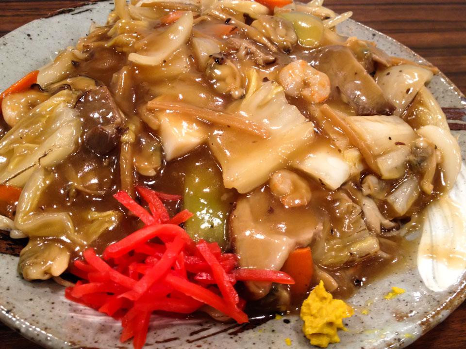 自家製麺屋あんかけ焼そば醤油味麺大盛り