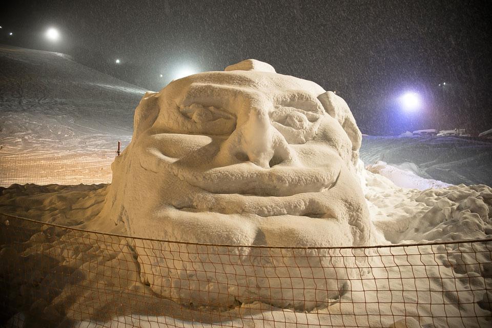 天狗山天狗の雪像