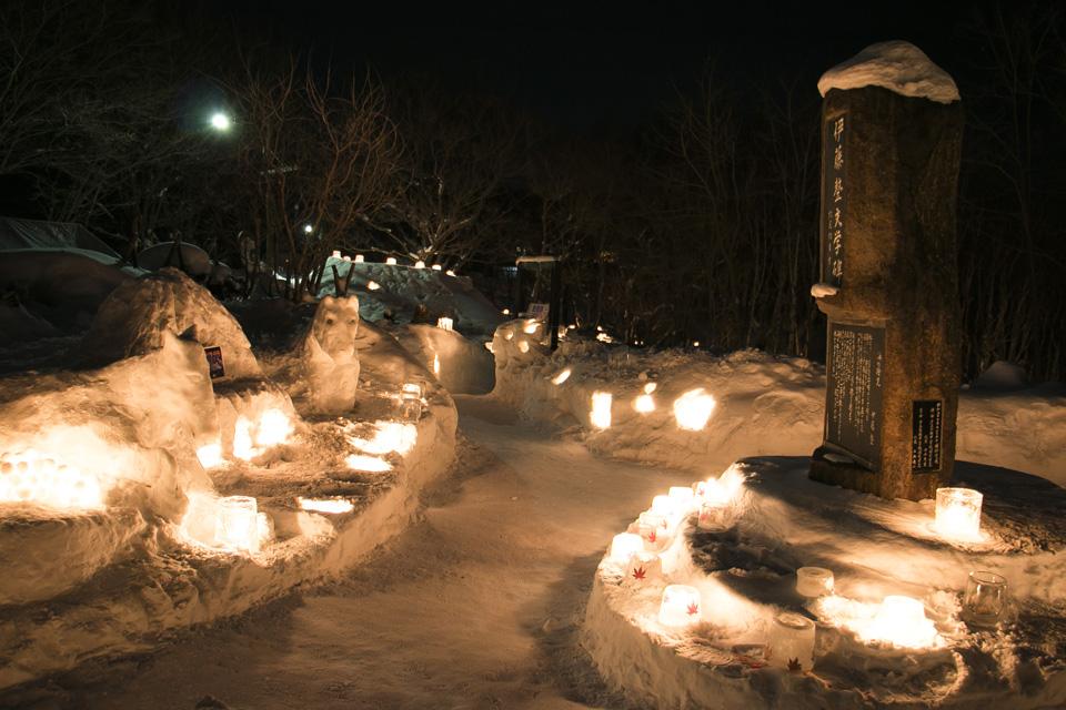 小樽雪あかりの路塩谷会場伊藤整文学碑