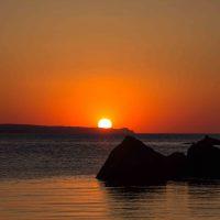忍路漁港の夕陽